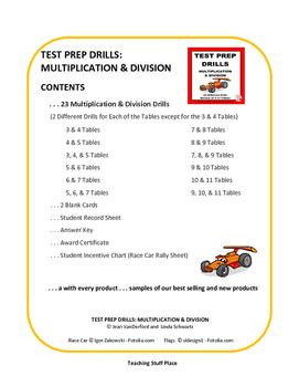 MULTIPLICATION and DIVISION   DRILLS   TEST PREP UNIT   PRACTICE   Grade 3