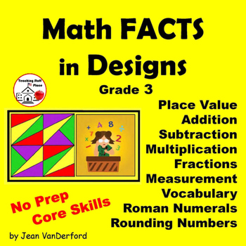 MATH FACTS | Vocabulary | Gr 3-4 Core|  COLOR by NUMBER | Geometric Designs