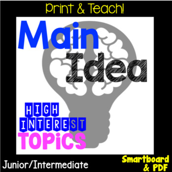 NO PREP Main Idea Reading Response Unit, Smartboard and PDF