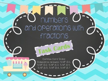 MATH TEST PREP: Numbers and Fractions Review Task Cards {M