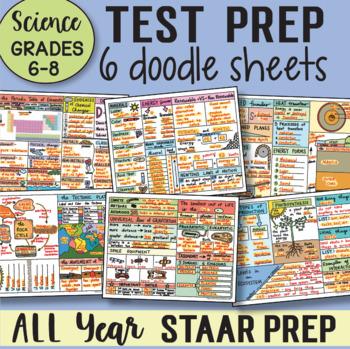 TEST PREP Review Doodle Notes Sheets Grades 6-8 Science