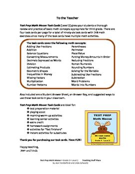 MATH Moose 96 Task Cards 2 | Back to School | Begin Grade 4 | Grade 3 CORE