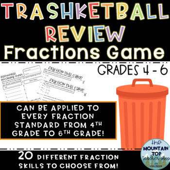 TEST PREP--Trashketball Review Game for Fractions-4th-6th Grade Standards