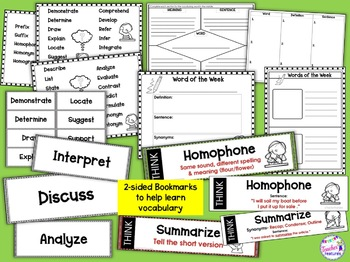 TEST PREP VOCABULARY WORDS Bookmarks and Activities