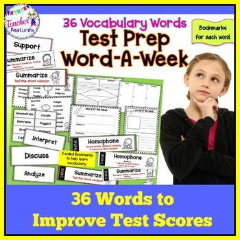 TEST PREP VOCABULARY | VOCABULARY WORD WORK | Bookmarks & Activities