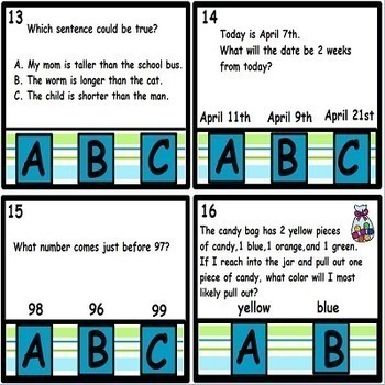 First Grade Math Tasks Cards and Scoot Game Set