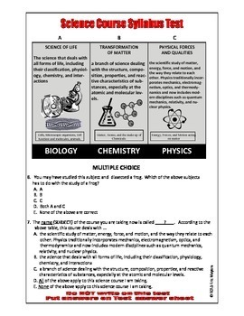 PRE-TEST for S T E M  - 100-QUESTIONS Goes with Science Course Syllabus
