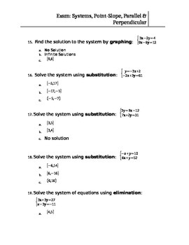 TEST: Systems of Equations, Parallel Lines, Perpendicular Lines, Point-Slope