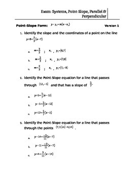 TEST: Systems of Equations, Parallel Lines, Perpendicular