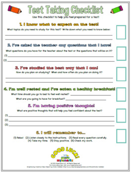 TEST TAKING CHECKLIST (Study Skills)