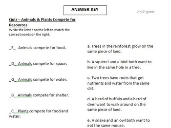 TEST - animals and plants compete