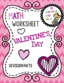 FREE Valentine's Day Division Fact Worksheet