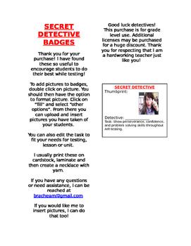 TESTING SECRET DETECTIVE BADGES