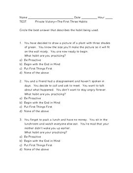 TESTS on Covey's first three habits--Private Victory