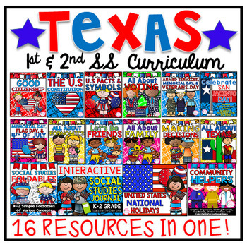TEXAS 1ST & 2ND GRADE SOCIAL STUDIES CURRICULUM (14 COMPLETE UNITS)