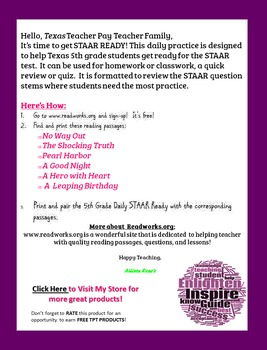 TEXAS 5th Grade Reading STAAR Ready Daily Practice: BUNDLE