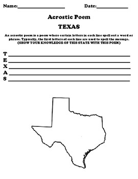 TEXAS Acrostic Poem Worksheet