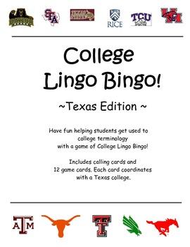 TEXAS College Lingo Bingo!