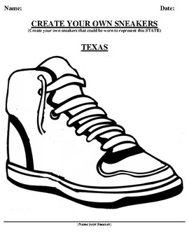TEXAS Design your own sneaker and writing worksheet