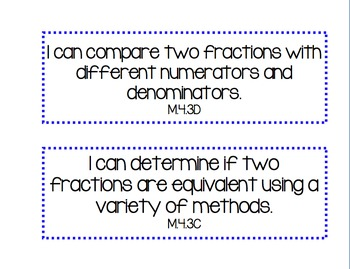 "TEXAS TEKS 4th Grade ""I Can..."" Statements MATH"