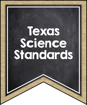 TEXAS (TEKS) SCIENCE STANDARDS BANNERS, 7th GRADE, BURLAP & CHALKBOARD