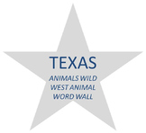 TEXAS WILD WEST THEMATIC UNIT ANIMAL WORD CARDS plus blank