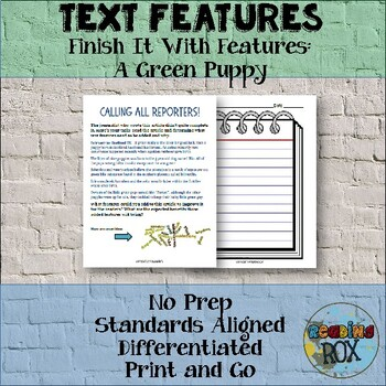 TEXT FEATURES Finish It with Features: A Green Puppy