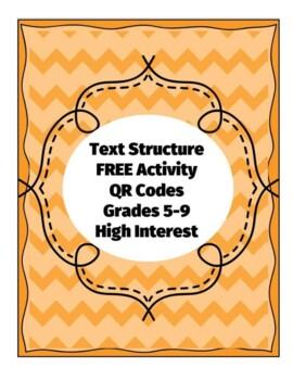 FREEBIE TEXT STRUCTURE QR CODES MATCHING CENTER ACTIVITY HIGH INTEREST 5 6 7 8 9