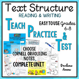 TEXT STRUCTURE READING /WRITING: POWERPOINT, NOTES, WORKSHEETS & TEST