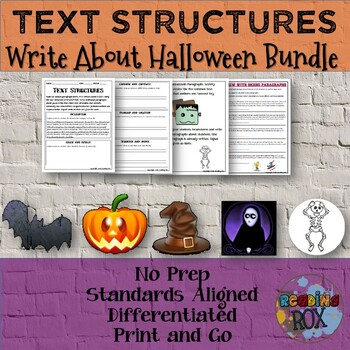 TEXT STRUCTURES Review and Write About Halloween BUNDLE