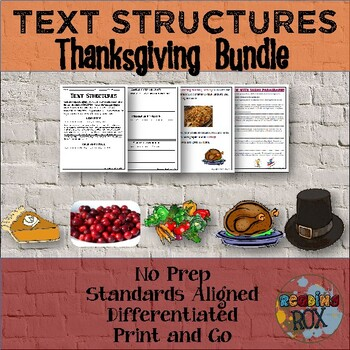TEXT STRUCTURES: Review then Write About Thanksgiving BUNDLE