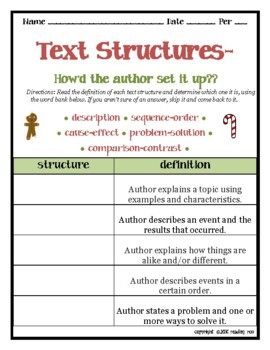 TEXT STRUCTURES-definitions & signal words matching activity HOLIDAY EDITION