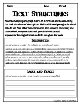 TEXT STRUCTURES review and write about CAKE