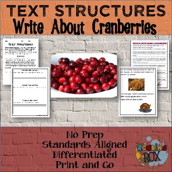 TEXT STRUCTURES: review then write about CRANBERRIES-Thanksgiving Edition