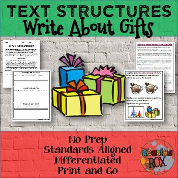 TEXT STRUCTURES: review then write about GIFTS-winter holiday edition