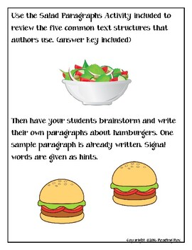 TEXT STRUCTURES review and write about HAMBURGERS