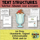 TEXT STRUCTURES review and write about ICE CREAM