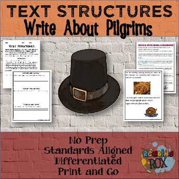 TEXT STRUCTURES review and write about PILGRIMS-Thanksgivi