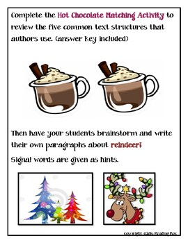 TEXT STRUCTURES: review then write about REINDEER-winter holiday edition