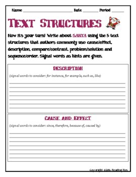 TEXT STRUCTURES: review then write about SANTA-winter holiday edition