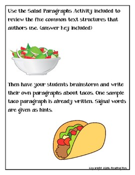 TEXT STRUCTURES review and write about TACOS