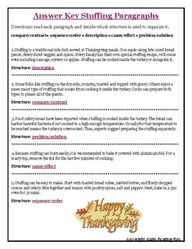 TEXT STRUCTURES: review then write about TURKEY-Thanksgiving Edition