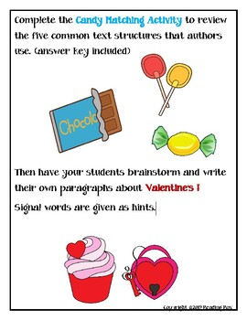 TEXT STRUCTURES review and write about VALENTINE'S DAY