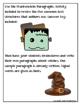 TEXT STRUCTURES review and write about WITCHES-Halloween Edition