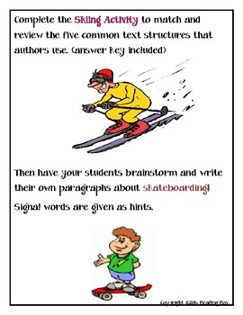 TEXT STRUCTURES: review then write about SKATEBOARDING-sports edition
