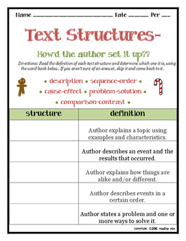 TEXT STRUCTURES: review then write about Winter/Holidays BUNDLE