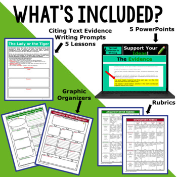 TEXT EVIDENCE / CONSTRUCTED RESPONSE BUNDLE!!! 5 Lessons!!  Middle School