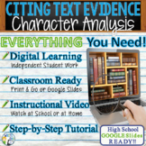 TEXT EVIDENCE / CONSTRUCTED RESPONSE Prompt - Character Analysis -High School