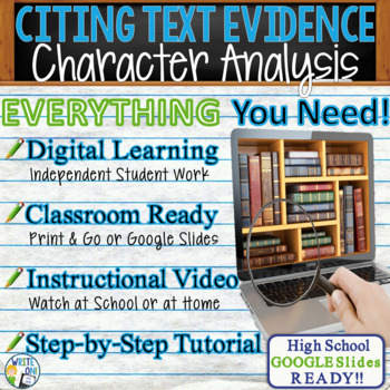 TEXT EVIDENCE / CONSTRUCTED RESPONSE Prompt - Character An