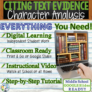TEXT EVIDENCE / CONSTRUCTED RESPONSE Prompt -Character Analysis-Middle School